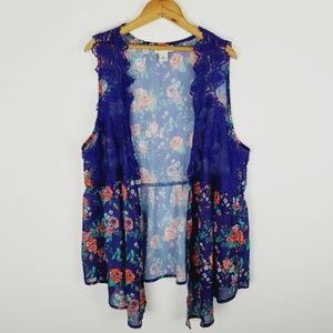 Crochet floral vest belle du jour semi sheer 1x